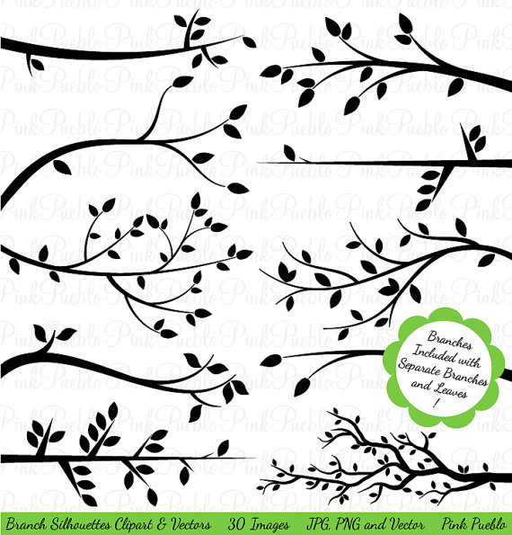 Silhouette of branches clipart #2