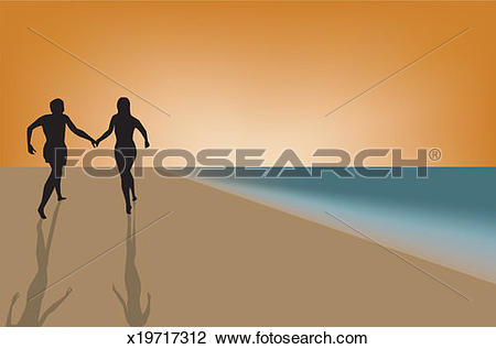 Stock Photo of Couple running on beach, holding hands, silhouette.
