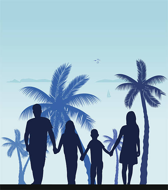 Silhouette Of Couple Holding Hands On Beach Clip Art, Vector.
