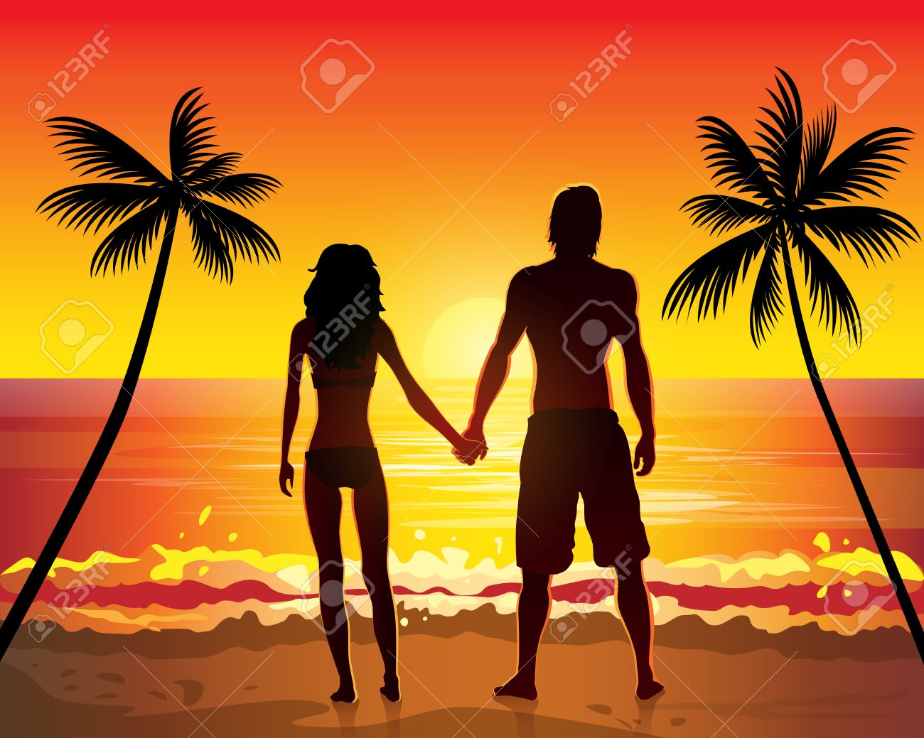 Romantic Couple Holding Hands On Beach Sunset Royalty Free.