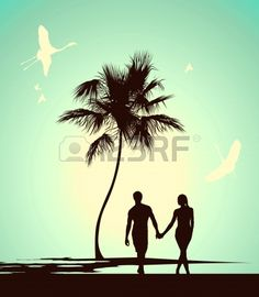 Silhouette Of Couple Walking And Holding Hands At Beach Clip Art.