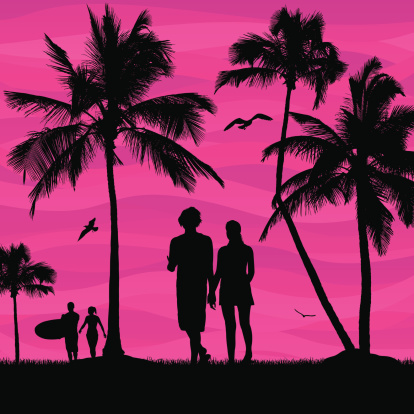 Silhouette Of The Couple Holding Hands On Beach Clip Art, Vector.