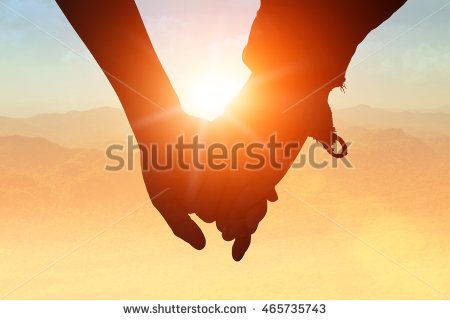 holding hands silhouette stock images royalty