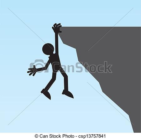 EPS Vector of Figure Hanging Cliff.