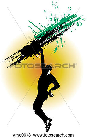 Stock Illustration of A man hanging off a cliff with his arm.
