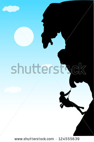 Rock Climber Vector Illustration Man Figure Stock Vector 124555639.