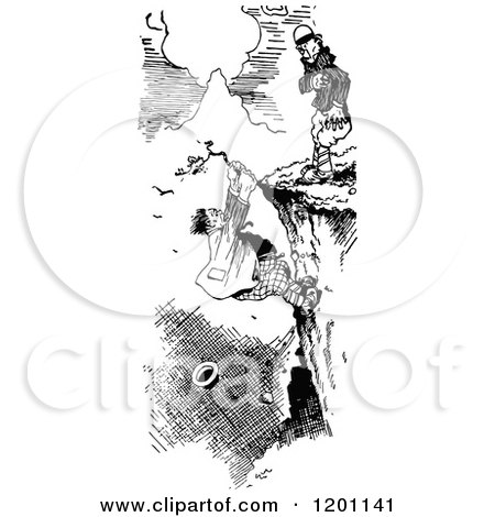 Clipart of a Grayscale Distressed Man Hanging over a Cliff.