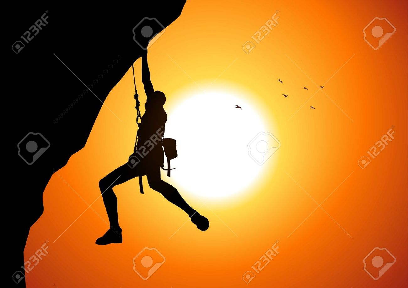 Vector Illustration Of A Man Figure Hanging On The Cliff Royalty.