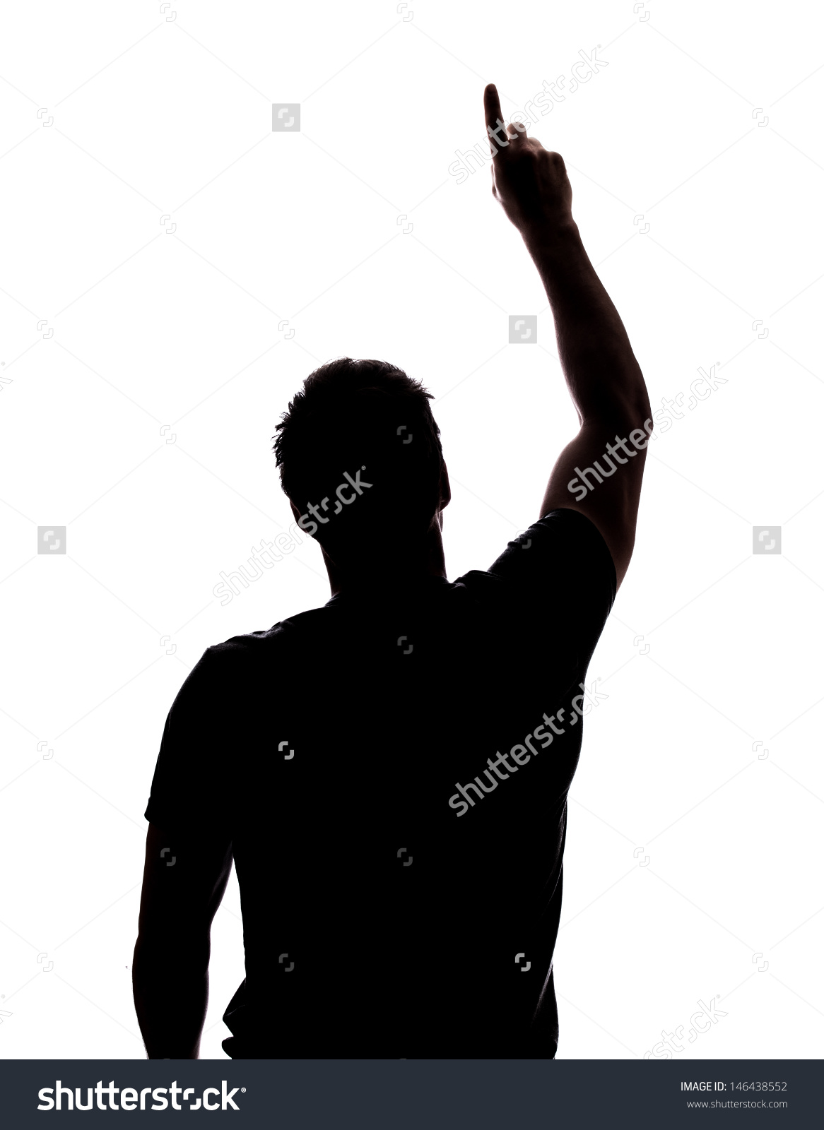 Man Pointing Sky Silhouette Isolated Over Stock Photo 146438552.