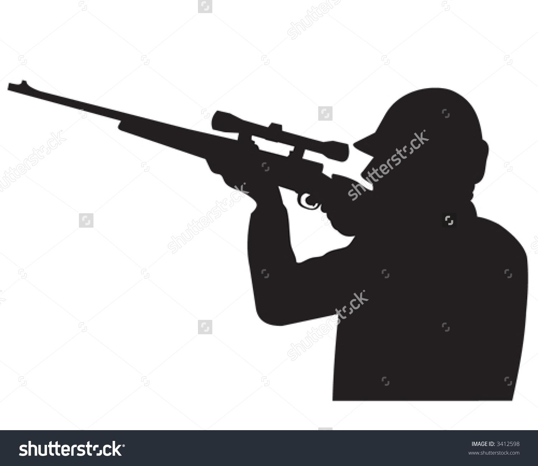 Hunter Pointing Gun Sky Silhouette Vector Stock Vector 3412598.