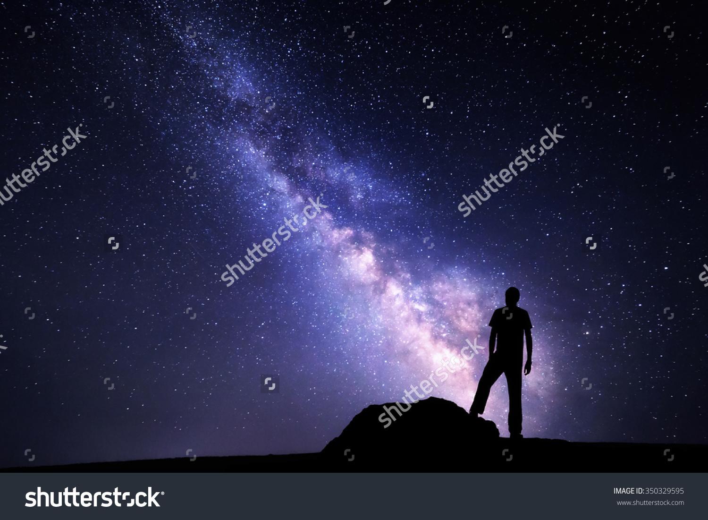 Milky Way Night Sky Stars Silhouette Stock Photo 350329595.