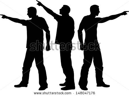 Silhouette Pointing Stock Images, Royalty.