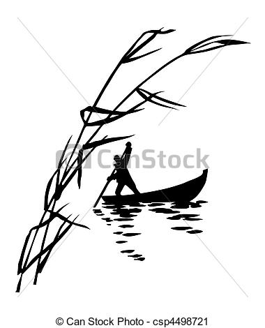 Vector Clip Art of illustration of the person in boat.