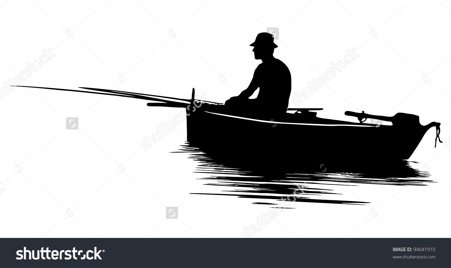 Silhouette Of Person On A Boat Clipart Clipground