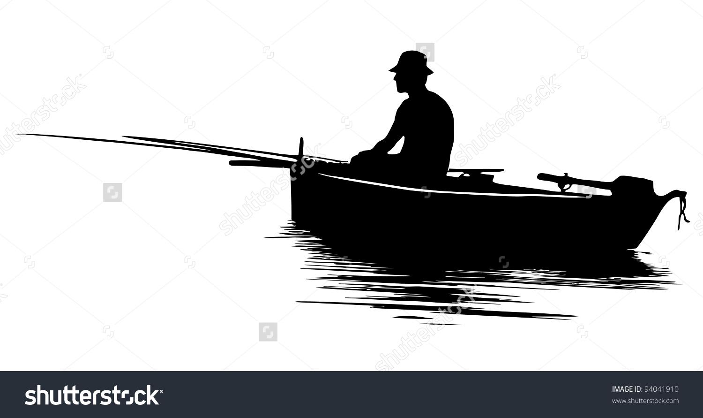 Fisherman Boat Silhouette Stock Vector 94041910.