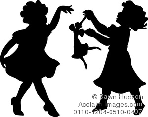 Clipart Illustration of Simple Vintage Style Silhouette of Two.