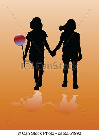 Two Fashion Girls Holding With Hand Vector.