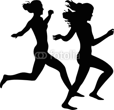 two joyful girls running.