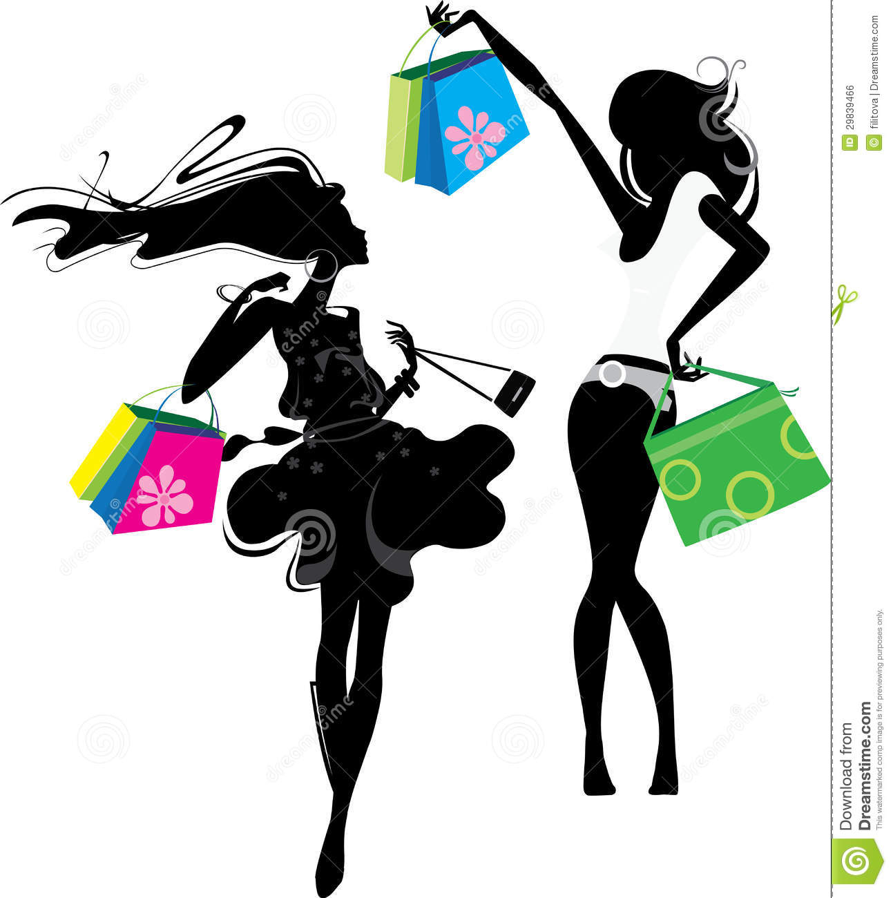 Silhouette Of A Girl With Bags Royalty Free Stock Image.