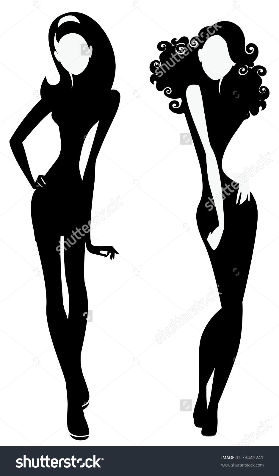 Silhouette Two Fashion Girls Stock Vector 73449241.