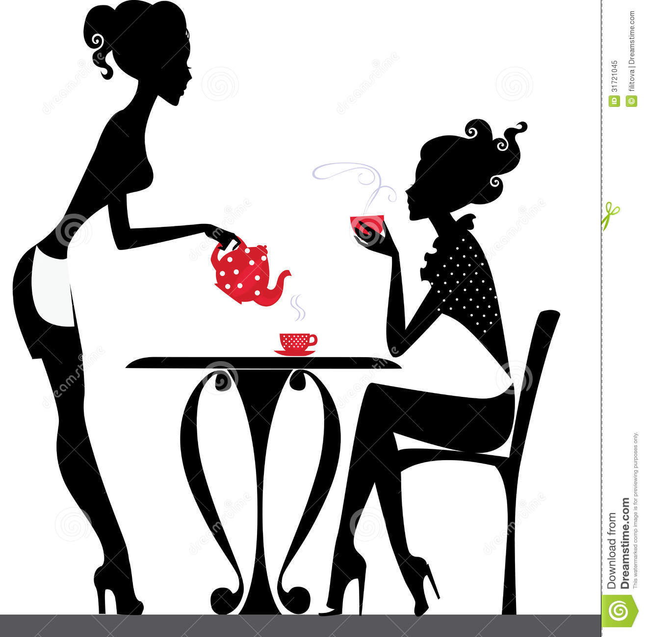 Silhouette Of A Two Girls Drink Tea Royalty Free Stock Photo.
