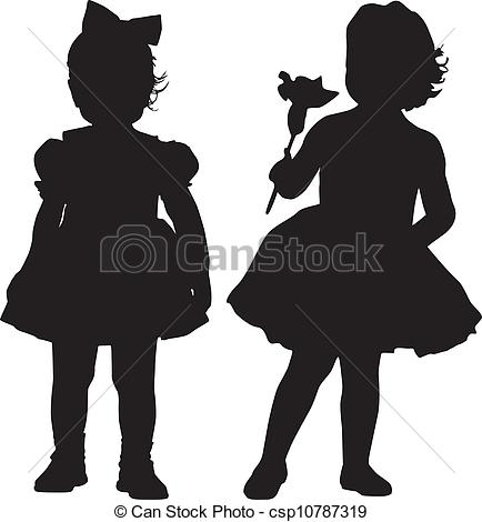 Vector Clip Art of Silhouettes of kids.