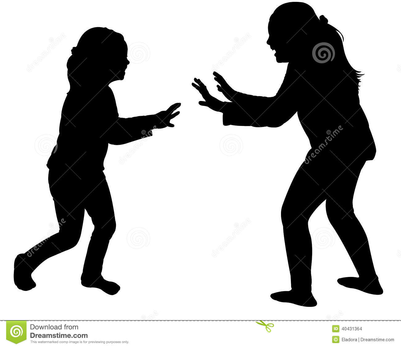 Silhouette Two People Fighting Stock Illustrations.