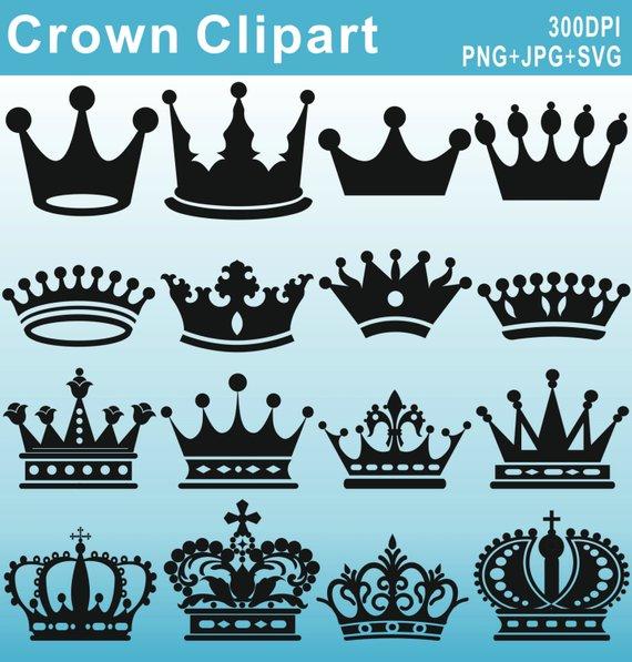 Crown Silhouettes Clipart, Royal Crown Clipart, Crown.