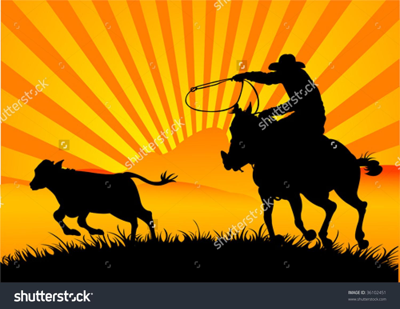 Vector Silhouette Cowboy Roping Calf Stock Vector 36102451.