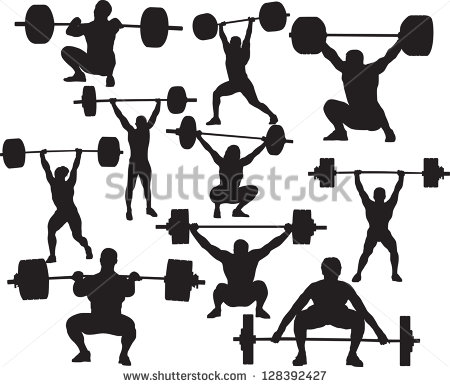 Vector weightlifter silhouette.