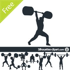 Sports Clipart Image of A Bodybuilder Lifting Free Weights Graphic.