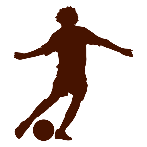 Teen playing football silhouette.