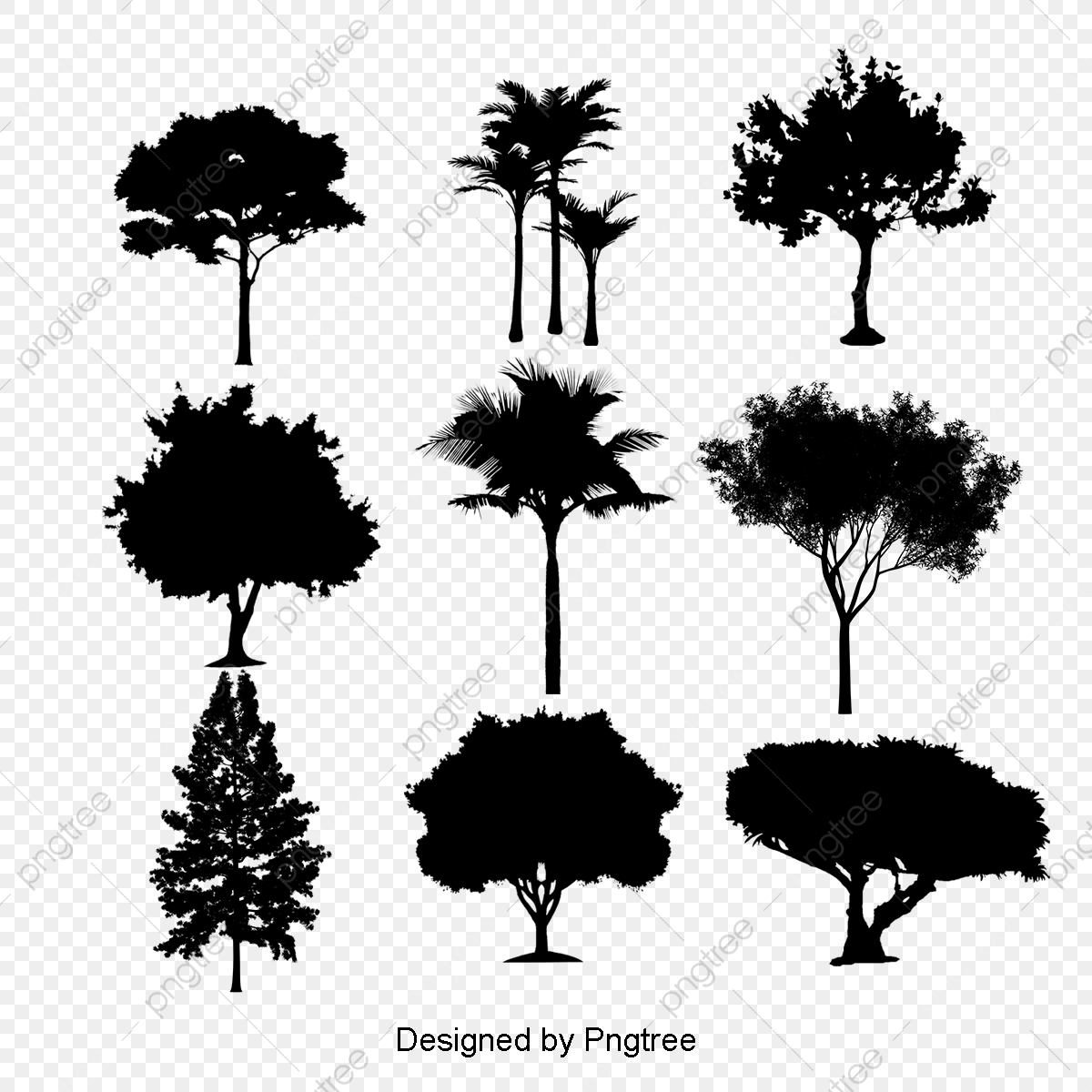 Tree Silhouette, Black, Trees PNG Transparent Clipart Image.