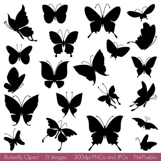 Butterfly Silhouettes Clipart Clip Art, Butterfly Clipart Clip Art.