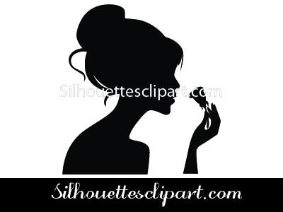 Girl Silhouette With Rose.