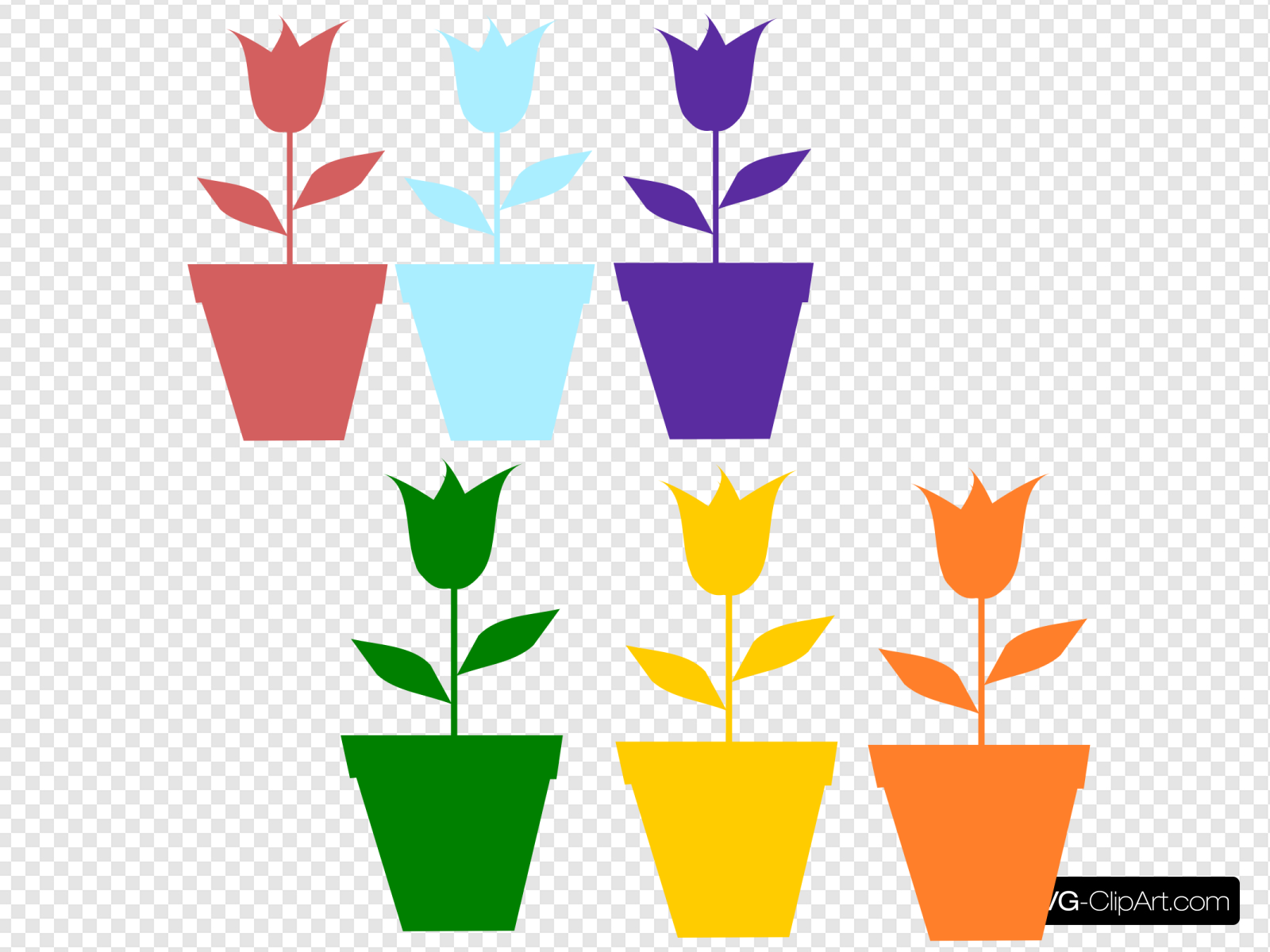 Tulips In Pot Silhouettes Clip art, Icon and SVG.