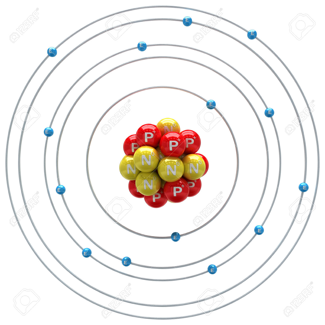 Silicium Atom On A White Background Stock Photo, Picture And.