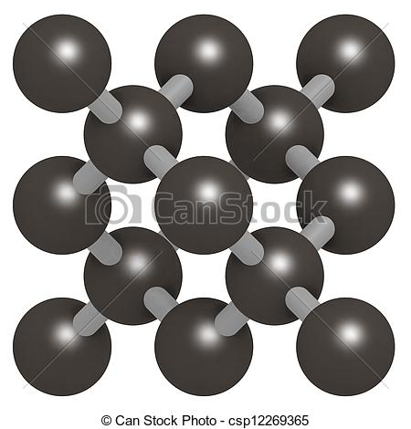 Stock Image of Pure silicon (Si, silicium), crystal structure. Si.