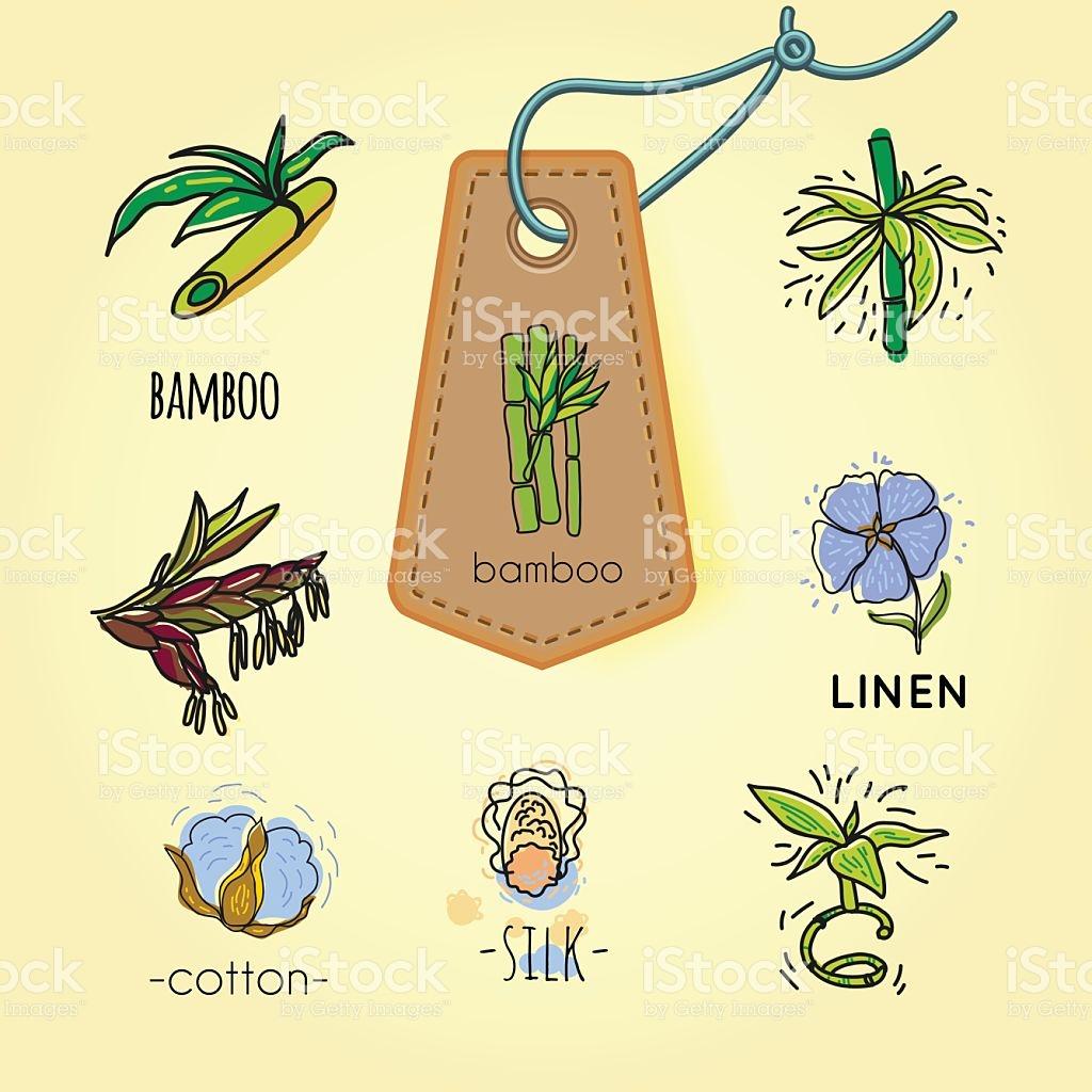 Icon Bamboo Silk Cotton Linen stock vector art 635953162.