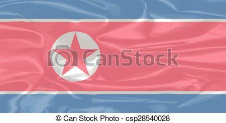 Vector Illustration of North Korean Silk Flag.