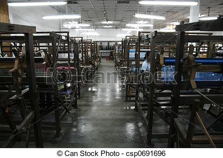 Stock Image of At the silk factory.