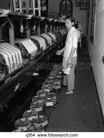 Stock Photo of 1920S 1930S Chinese Woman Silk Factory Worker At.