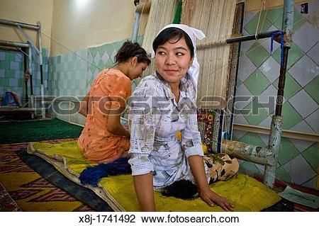 Stock Photo of Uzbekistan, Margilan, silk factory x8j.