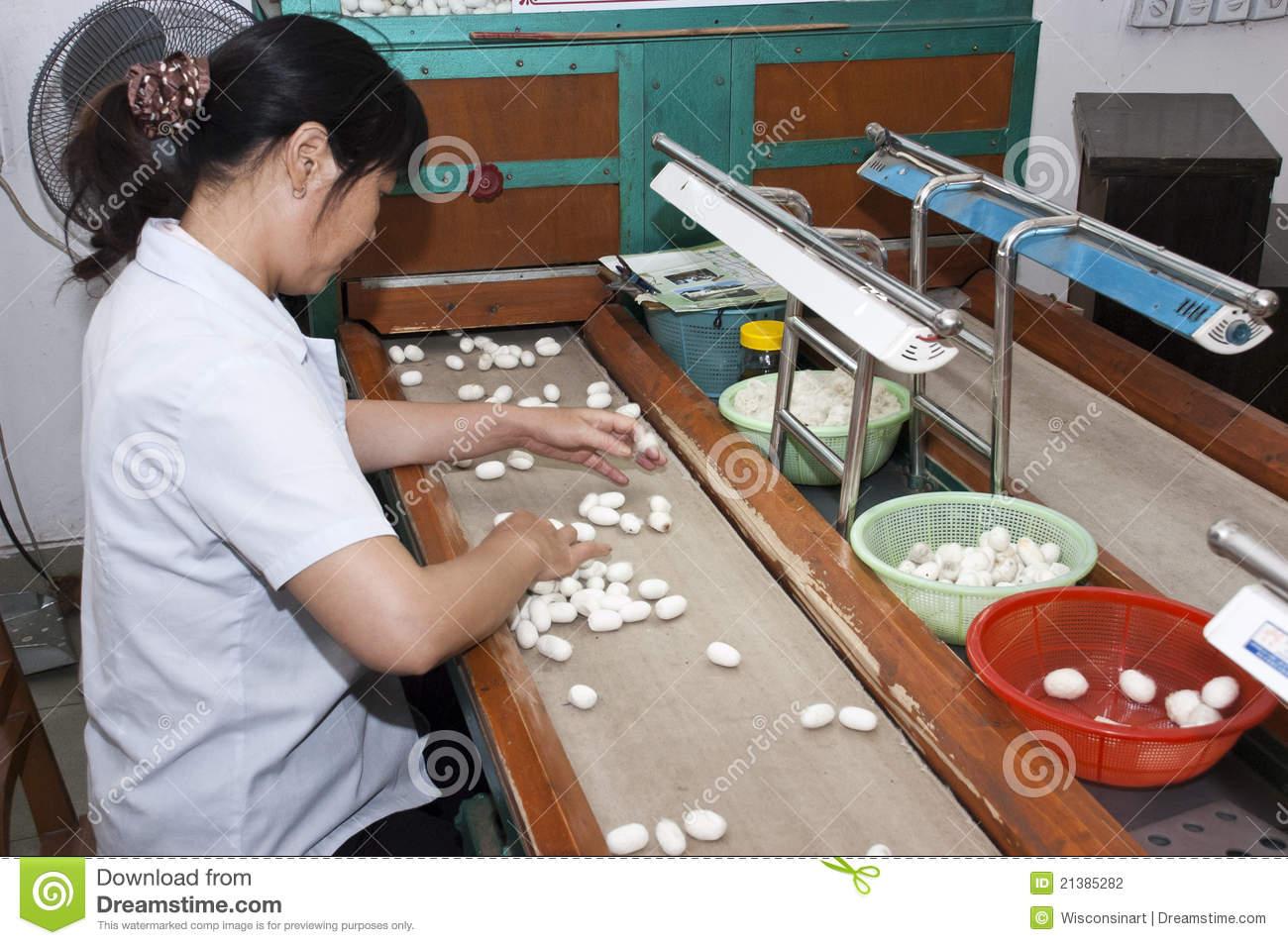 Chinese Worker At Suzhou, China, Silk Factory Editorial.