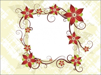 Silk Flower Design Card, Clipart.
