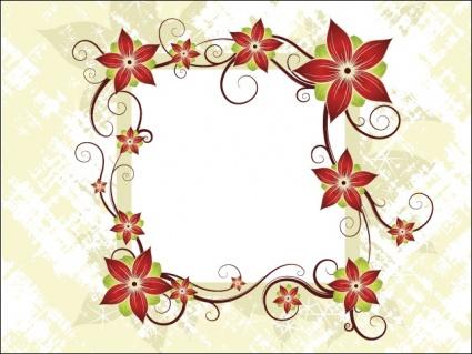 Silk Flower Design Card, Clipart.