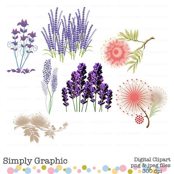 Lavender, Wedding, Bouquet, Plant, Purple Flower Clipart, Digital.