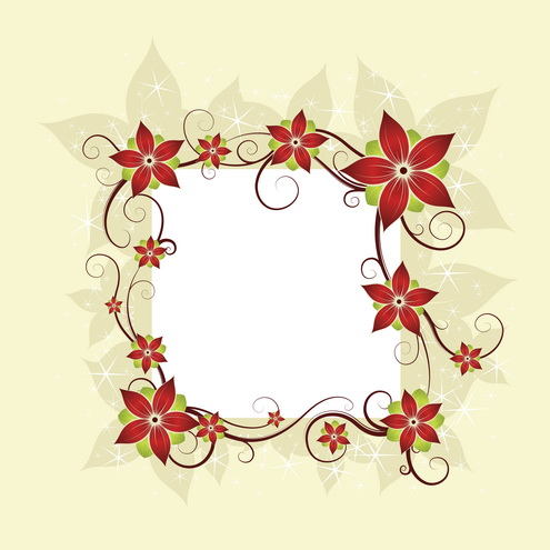 Silk Flower Design Card Vector.