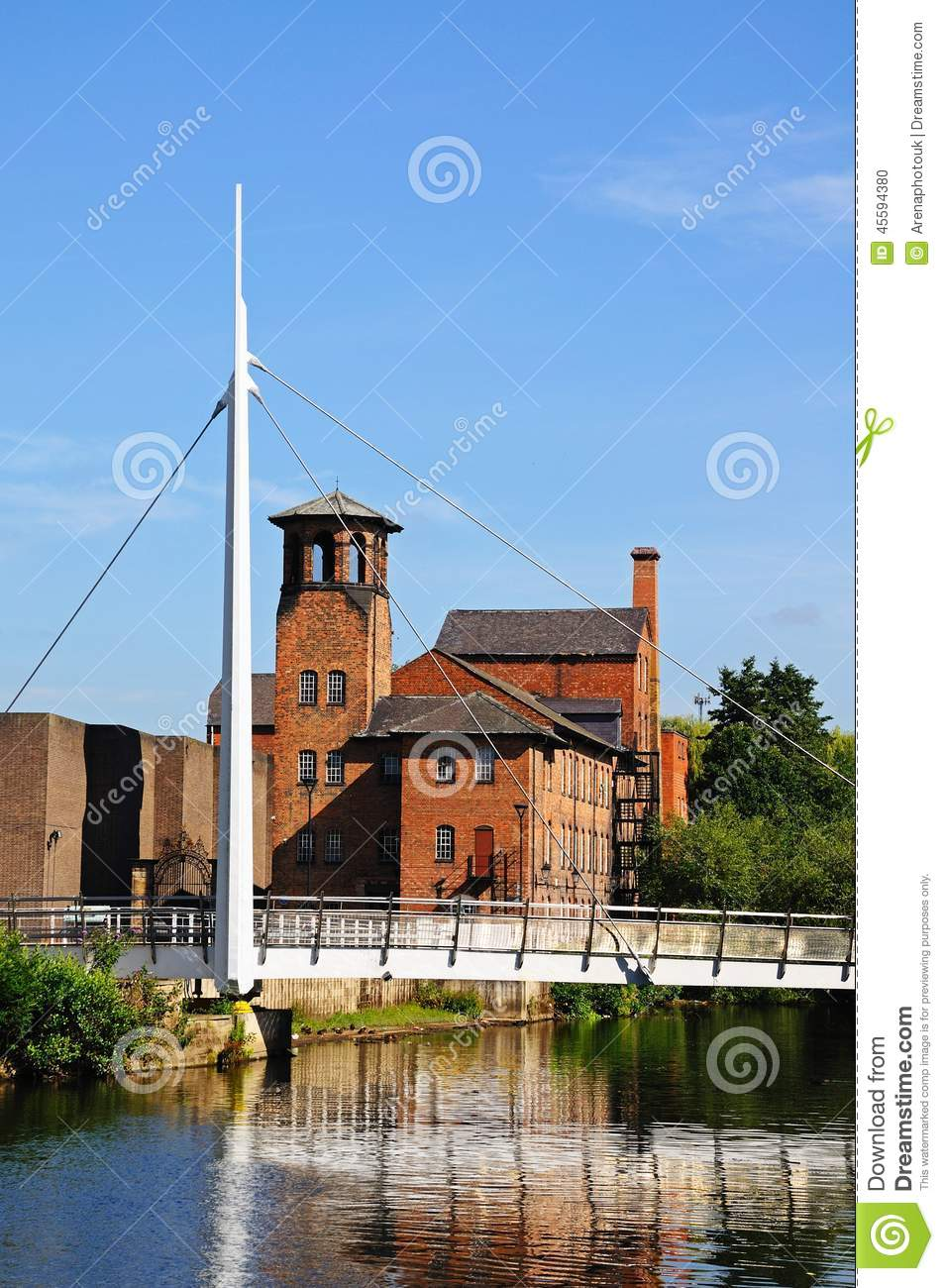Bridge And Silk Mill, Derby. Stock Photo.