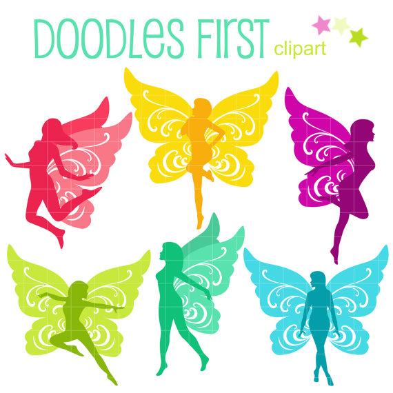 Fluttery Fairies Digital Clip Art for Scrapbooking Card Making.